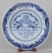 A Delft Marriage Plate, 18th Century