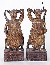 A Pair of 19th Century Chinese Wooden Guardians