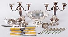Estate Lot: Sterling and Silver Plate, Candelabra, Bowl, Etc...