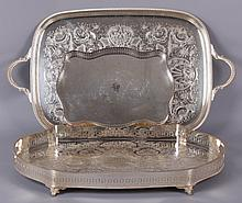 Three Silver Plated Trays, 20th Century