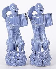 A Pair of Chinese Claire de Lune Figures
