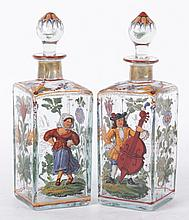 A Pair of Blown Glass Bottles with Enameled Decoration