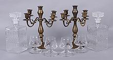 Estate Lot, Brass Candelabra, Pair of Decanters, Etc...