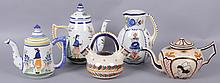 Quimper, Five Pieces, Coffeepots, Teapots