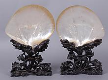 A Pair of Chinese Mother of Pearl Shells with Stands