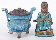 Two Pieces of Chinese Turquoise Glaze Pottery