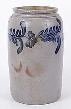 An American Blue Decorated Two Gallon Stoneware Crock