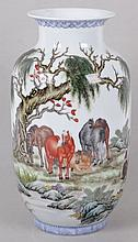 A Chinese Porcelain Vase with Horse Decoration, Modern