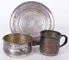 A Three Piece Sterling Child's Set by Gorham