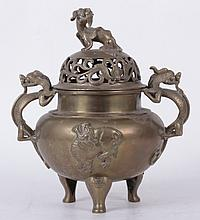 A Chinese Brass Censer, 19th Century