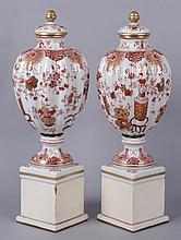 A Pair of Japanese Porcelain Urns