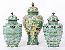 Three Large Chinese Cloisonne Covered Jars
