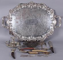Group of Silver Plated Items Including a Large Platter