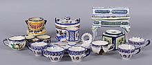 A Group of Small Quimper Pottery Items, Inkwell, Chamberstick, Etc...