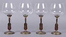 A Set of Four Wine Glasses, Enamel Violin Decoration
