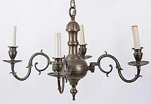 A Dutch Style Brass Chandelier and a Pair of Sconces