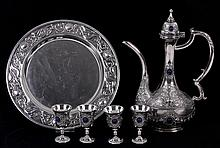 A Silver Plated Wine Set