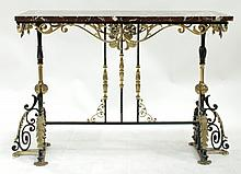 A French Style Marble Top and Wrought Iron Side Table