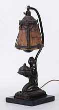 An Art Deco Figural Lamp