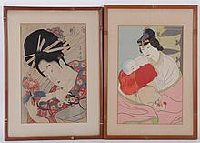 Two Woodblock Prints, Japanese and Paul Jacoulet