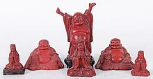 Six Chinese Cinnabar Figures