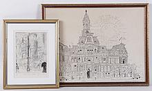 Two 20th Century Prints, City Scenes