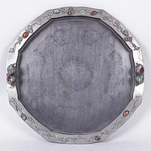 A Large Chinese Pewter and Stone Tray