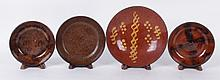Four Pieces of American Redware, 19th Century