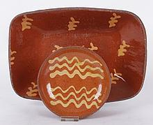 Two Pieces of 19th Century American Redware