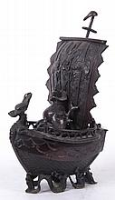 A Bronze Ship Form Censer, Japanese