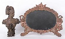 Estate Lot: Metalware, Bust After Anton Nelson, Mirror