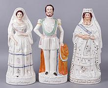 Three Large 19th Century Staffordshire Figures, Duke, Duchess and Queen Elizabeth