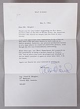 A Signed Letter from Walt Disney Regarding Tesla Documentary