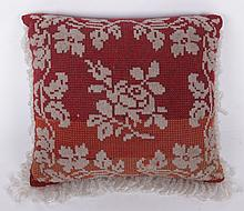 A Victorian Beaded and Needlepoint Pillow