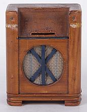 An Art Deco Period Wooden Bank in the Form of a Radio
