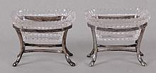 A Pair of Austro Hungarian Cut Glass and Silver Open Salts