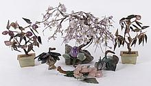 A Group of Chinese Hardstone Trees, Etc...