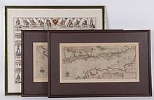 Three Decorative Framed Maps