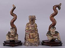 Three Chinese Polychrome Wooden Figures, 19th Century