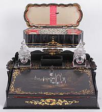 A Victorian Papier Mache Lap Desk and Sewing Box