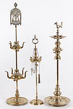 Three Brass Oil Lamps, Indian and Turkish