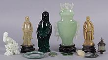 A Group of Chinese Figures Including Jade