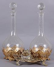 A Pair of Etched Glass Decanters, WMF