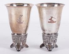 A Pair of  Silver Plated Stirrup Cups