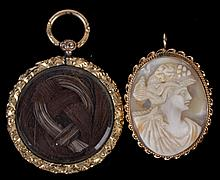 Two Pieces of Estate Jewelry: Cameo and Mourning Pendant