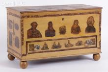 An American Decoupage Decorated Miniature Blanket Chest