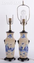 A Pair of Chinese Crackle Glaze Vases/Lamps