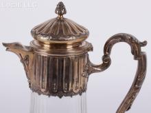 A 19th Century French Crystal and Silver Ewer