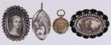 Four Pieces of Antique Jewelry, Including a Portrait Pin