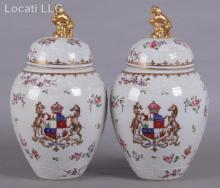 A Pair of Samson Chinese Export Style Porcelain Urns